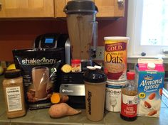 Creamy Chocolate Sweet Potato Oat Shakeology   It's really not a lot of work, it's all ingredients on hand in pantry and fridge.    1C unsweetened almond milk, 1 scoop chocolate or vanilla shakeology, 1/2 cooked sweet potato, dollop plain Greek yogurt, dash cinnamon and nutmeg, small chunk fresh ginger root, 1 tblsn raw steel cut oats and ice.  Blend and enjoy, it's delicious!