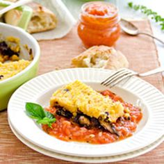 Polenta with sun-dried tomatoes and mushroom casserole: Mediterranean flavors and Caribbean-style combined.