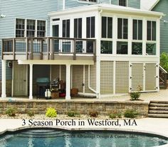 Deck & Hip Roof 3 Season Porch/don't like the bottom lattice but actual porch space might work Three Season Porch, Three Season Room, Deck With Pergola, Screened Deck, Pergola Ideas, Pergola Roof, Porch Ideas, Outdoor Ideas, Under Deck Storage