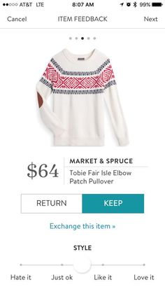 Market and Spruce Tobie Fair Isle Elbow Patch Sweater - Stitch Fix 2016