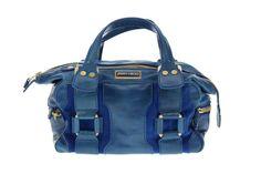 Jimmy Choo Mahala Handbag Blue Leather and Suede Authentic Pre-owned #JimmyChoo #Handbag
