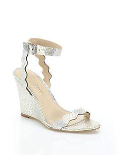 Loeffler Randall - Piper Crackled Metallic Leather Scallop Wedge Sandals