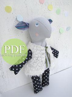 Stuffed toy sheep pdf sewing pattern  Lamb softie by JoyfulRiver, $7.00