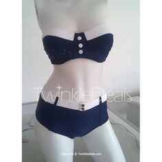 Vintage Color Block Buttoned Bikini Set For Women