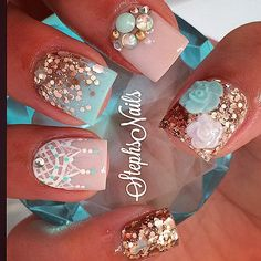 #ShareIG #rosegold#chunkyglitter#nude#classic#mintyblue#vintagenails#paintedlace#love#glitterombre#flowers#cute#notpolish#stephsnails#teamsteph#lovethem#originalideas#getyourown#lol#lovemyjob