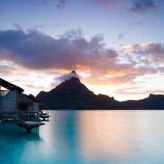 Colorful end of the day! :@deslee88 thalasso.intercontinental.com#ICThalasso #BoraBora#InterContinentalLife#FrenchPolynesia#Island#Islandlife#Honeymoon#Love#Summer#Relaxing#Enjoying#Break#Amazing#Holiday#blue#lagoon#Sunset