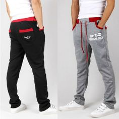 hot 2013 New Men Casual Sports Pants, loose male trousers,letter words print jogging slacks sweatpants Black Gray Blue M-XXL $18.99