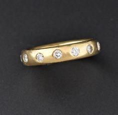 Vintage Full Eternity Diamond 14K Gold Ring  #Diamond #ngagement #Gold #Deco #14K #Art #Vintage #intage #Ring #Eternity