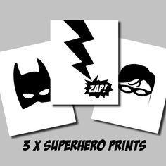 3 Pack of Printable Batman Robin Superhero Artwork - wall art - boys room superhero - monochrome - INSTANT DIGITAL DOWNLOAD by AlignMedia on Etsy https://www.etsy.com/listing/234077322/3-pack-of-printable-batman-robin