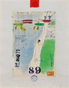 Viktor IV (1929-1986)  Logbogsblad, mixed media på papir, stemplet Viktor IV, American Ikons, Amsterdam, 44 x 34 cm.