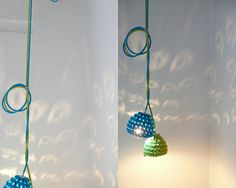 Pendant lamp with crocheted lampshade and textile by lacasadecoto, €59.00
