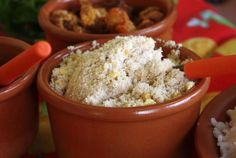 Farofa is an essential condiment to many Brazilian dishes. It's made with manioc meal, or the ground root of the cassava or manioc plant.