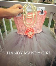 Coral peach Lace gray tutu brooch flower girl tutu dress on Etsy, $80.00