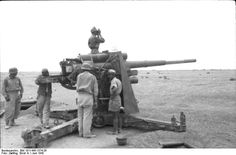 German Army 8.8 cm FlaK 18 gun deployed in an anti-tank role, Bir al Hakim, near Tobruk, North Africa, Jun 1942.