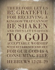 """""""Therefore, since we are receiving a kingdom which cannot be shaken, let us have grace, by which we may serve God acceptably with reverence and godly fear. For our God is a consuming fire."""" Hebrews 12:28-29 NKJV"""