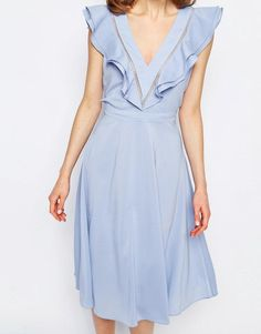 Lost   Lost Ink Ruffle Detail Low Back Dress at ASOS