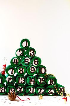 Paper Roll Christmas Tree Advent Calendar
