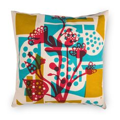 Layering natural components into new landscapes, Marcus Walters' limited edition range uses organic patterns to create colourful abstract designs. Designed and made in his Gloucestershire studio, Plant Route's marionette-like collage of plants and stems is hand screen printed onto a natural cotton cushion.