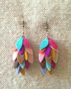 Handmade to order in Portland, Oregon. These Long Bead Bar earrings are so perfect for every day wear. Denim Earrings, Feather Earrings, Textile Jewelry, Fabric Jewelry, Jewellery, Earrings Handmade, Handmade Jewelry, Felt Necklace, Bijoux Diy