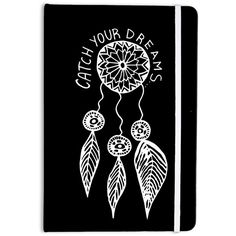 Kess Inhouse Vasare Nar Catch Your Dreams Black White Everything... ($15) ❤ liked on Polyvore featuring home, home decor, stationery, black, home & living, office and office & school supplies