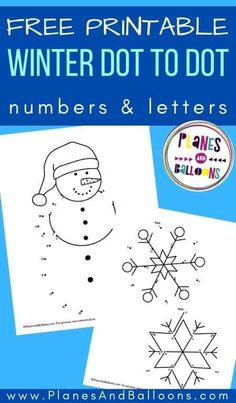 Free printable winter dot to dot - snowman connect the dots worksheet and snowflake dot to dot letters and numbers. #prek #preschool #kindergarten #planesandballoons Winter Activities For Kids, Printable Activities For Kids, Free Printable Worksheets, Worksheets For Kids, Kindergarten Activities, Free Printables, Dot Letters, Dots Free, Connect The Dots