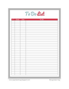 Organized Meg: Free To Do List Printable