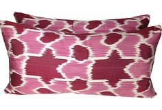 Custom Pink Ikat Lumbars, Pair on OneKingsLane.com