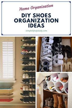 Shoes organization doesn't have to be complicated. You can even work on some DIY ideas - here are some! Bedroom Organization Diy, Garage Organization, Shoe Organizer, Diy Garage, Diy Kitchen, Storage Ideas, Diy Ideas, Simple, Shoes