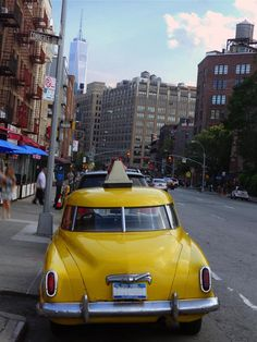 Vintage yellow cab, Greenwich Village, New York City