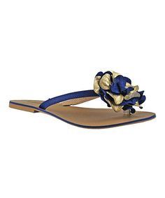 Look at this #zulilyfind! Royal Blue & Gold Floral Swirl Leather Sandal #zulilyfinds