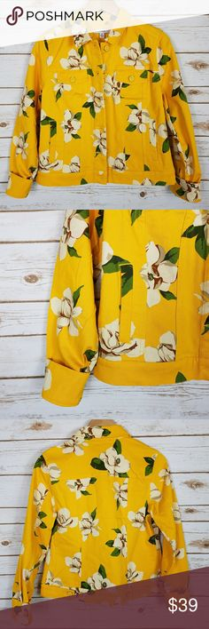 """NWOT Denim yellow floral jacket Long sleeve yellow jean jacket with white flowers and greenery. Super cute! Would be great for all seasons. Never worn but tags were removed. No damages   • armpit to armpit: 18.5"""" • length: 21.5"""" Isaac Mizrahi Jackets & Coats Jean Jackets"""