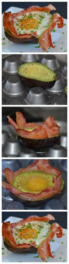 Bacon Egg Avocado Cups!   An elegant and simple breakfast or brunch idea! Healthy too!
