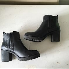 Black Cathy Jean booties with chunky heel Gently worn and super comfortable. You can wear with just about any outfit. Heel 4 inches Cathy Jean Shoes Ankle Boots & Booties