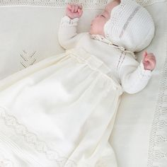 I hope you like emoji as much as I do. Lace Christening Gowns, Baby Christening, Baby Blessing Dress, Baby Dress, Storing Baby Clothes, Girls Sweaters, Little Girl Dresses, Baby Knitting Patterns, Baby Wearing