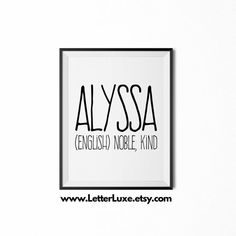 Theo name definition printable nursery wall art pinterest alyssa name meaning art printable baby shower gift nursery printable art digital print negle Images