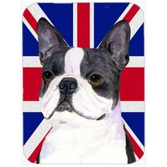 Caroline's Treasures Union Jack Boston Terrier with English British Flag Glass Cutting Board