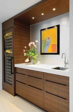 Custom Wine Fridge, Cabinets, Countertops,  Wall Panels by  Seagull Enterprises Ltd  www.seagull.ca