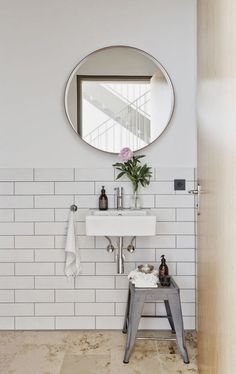 bathroom stool round mirror