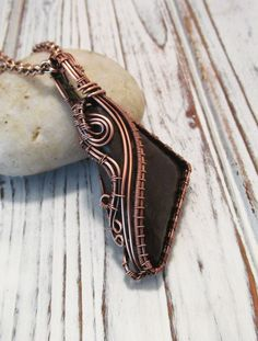 RESERVED for Janette - Triangle Free Form Copper Wire Wrapped Pendant Necklace - Boho Style by FearlessCreationsbyJ on Etsy