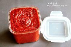 Instant gochujang (in Korean) Korean Dishes, Korean Food, Food Menu, Kimchi, No Cook Meals, Food And Drink, Pudding, Cooking, Desserts