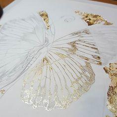 Shiny!  #goldleaf #inprogress #butterfly Doodle Drawing, Leaf Drawing, Painting & Drawing, Gold Leaf Art, Gold Art, Illustration Art, Illustrations, Dragonfly Art, Encaustic Art