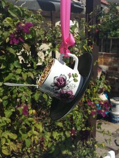 Teacup bird feeder vintage china teacup by Prettyvintagehouse