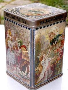 Antique Mazawattee Tea tin Nursery Ryhmes Alice in Wonderland c1900 - c1910