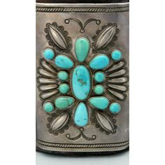 Early Navajo/Hopi Turquoise BUTTERFLY Ketoh Bow Guard, first half of the 1900s.