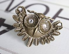 Items similar to Owl Drawer Knobs in Brass Metal - Cabinet Knobs Owl with Crystal Eyes - Woodland Home Decor - Housewarming Gift on Etsy Drawer Knobs, Cabinet Knobs, Drawer Pulls, Jewelry Rack, Furniture Knobs, Metal Drawers, Brass Metal, Copper, Wall Hooks