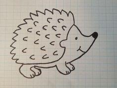 stap 2 teken figuur egel, hedgehog na