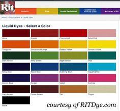 Rit dye color chart crafting pinterest colour chart chart