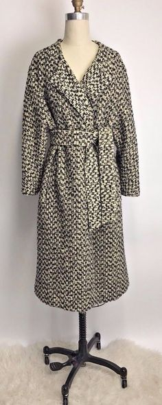 Vintage 50s Mayfair California Hand Tailored Wool Black and White Swing Coat XL #MayfairofCalifornia