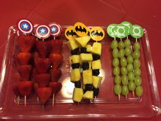 Fruit kabobs superhero party More