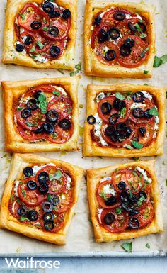 Scrumptious tomato, black olive and ricotta puff tarts are a great recipe for lunch, topped with a sprinkle of oregano leaves. To view the full recipe, see the Waitrose website. Best Dinner Recipes, Veg Recipes, Vegetarian Recipes, Snack Recipes, Cooking Recipes, Baking Recipes Uk, Snacks, Puff Pastry Recipes Savory, Savory Tart